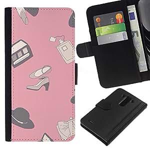 All Phone Most Case / Oferta Especial Cáscara Funda de cuero Monedero Cubierta de proteccion Caso / Wallet Case for LG G3 // Design Pink Clothing Shoes