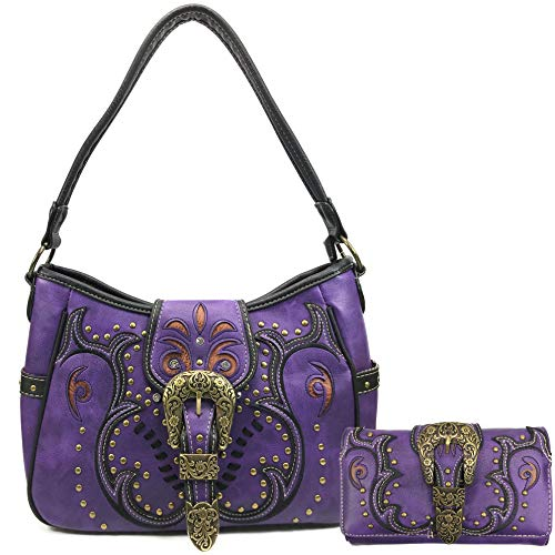 (Justin West Patina Girl Western Bronze Floral Buckle Conceal Carry Handbag Purse Tote and Strap Wallet (Purple Hobo Wallet Set))