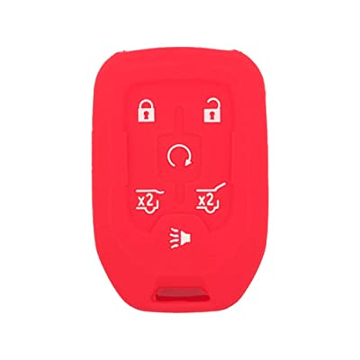 SEGADEN Silicone Cover Protector Case Skin Jacket fit for GMC CHEVROLET 6 Button Remote Key Fob CV4617 Red: Automotive