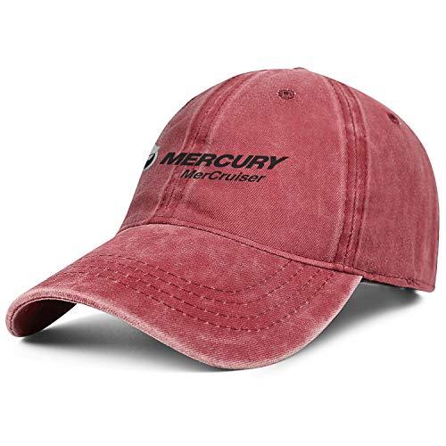 Vintage Washed Cap Mercury-Marine-mercruiser-Logo- Red Casual Unisex Trucker Adjustable Hats