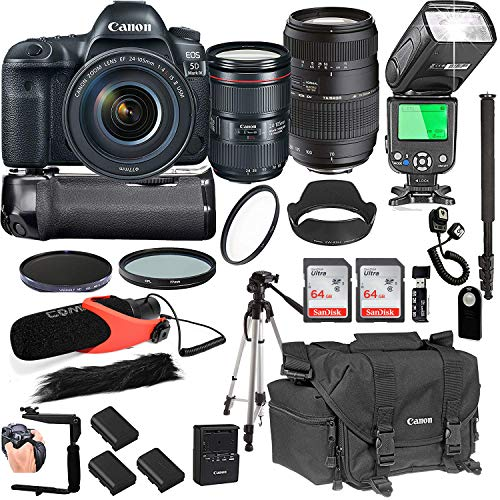 Canon EOS 5D Mark IV with 24-105mm f/4 L is II USM + Tamron 70-300mm + 128GB Memory + Canon Camera Bag + Pro Battery Bundle + Power Grip + Microphone + TTL SpeedLight + Pro Filters,(24pc Bundle)