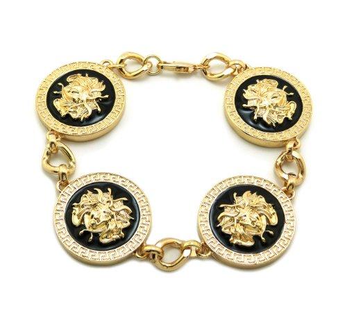 "9"" Long 4 Snake Head Medusa Medal Link Bracelet - Black/Gold-Tone"