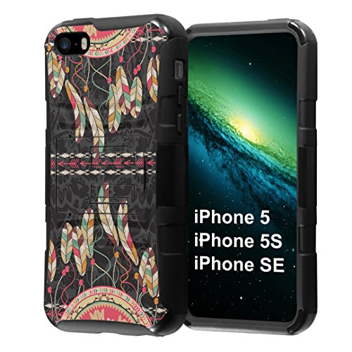 iPhone SE Case, Capsule-Case Hybrid Dual Layer Combat Full Armor Style Kickstand Case with Holster Combo (Black) for iPhone SE/iPhone 5s / iPhone 5 - (Dreamcatcher)