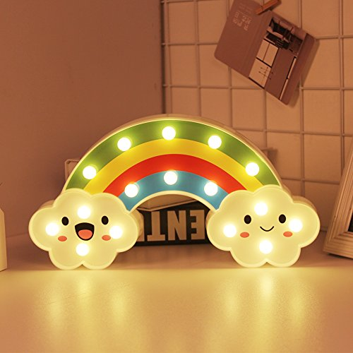 WHATOOK Rainbow Marquee Sign Led Night Light, Battery Operated Wall Light Decorative Bedsides Lamp Girls Boys Christmas Home Decor(Rainbow) by WHATOOK