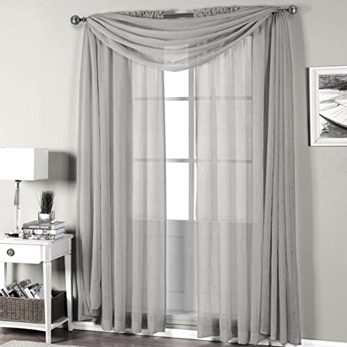 Solid Viole Sheer Curtain Panel Drapes