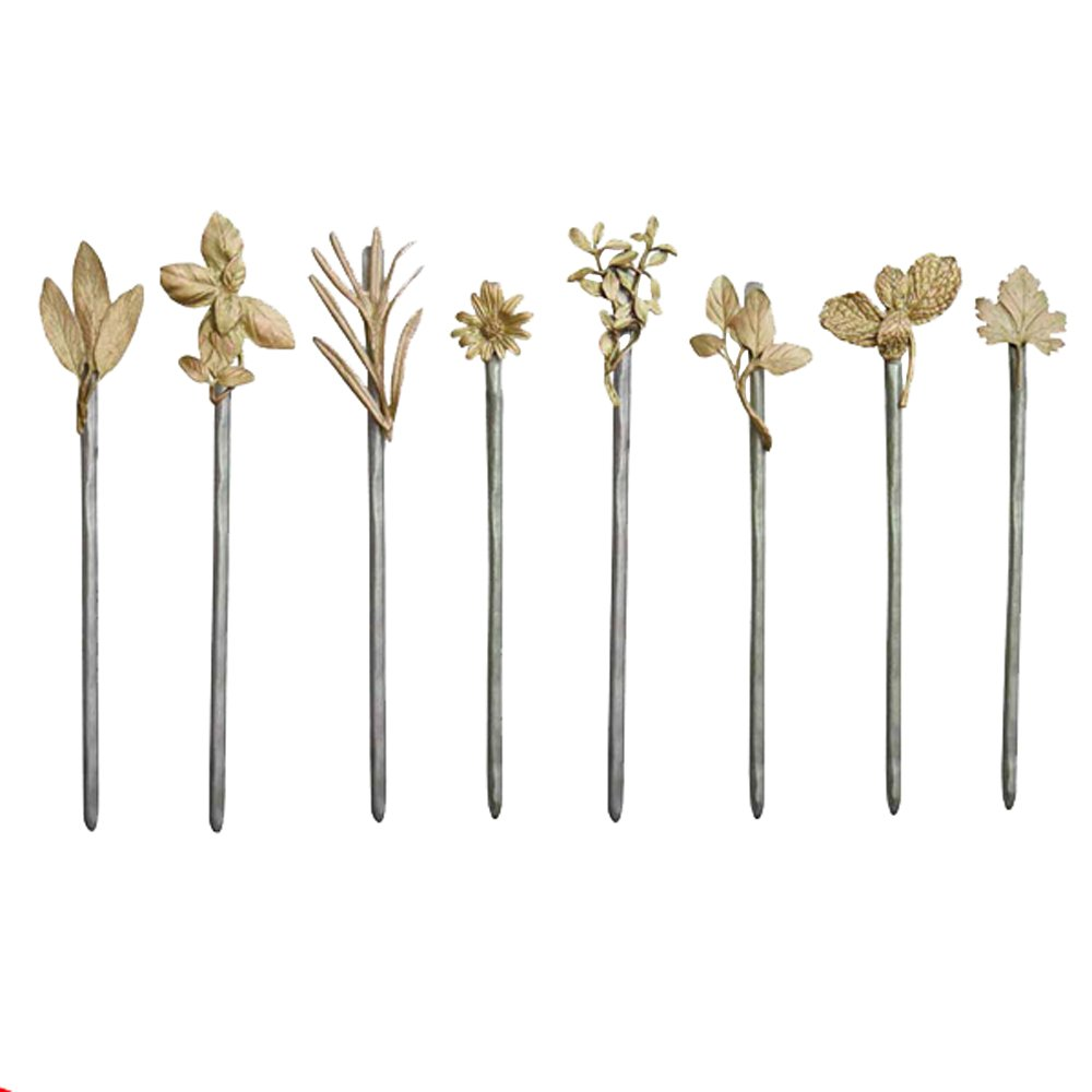 Set of 8 Garden Stakes by Michael Michaud for Silver Seasons Table Art