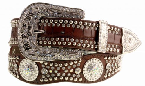 Nocona Women's Scalloped Croc Print Belt, Brown, ()
