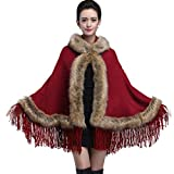 womens cloak red hooded - Caracilia Women Bridal Hoodie Faux Fur Shawl Wraps Cloak Coat Red Coffee CA86