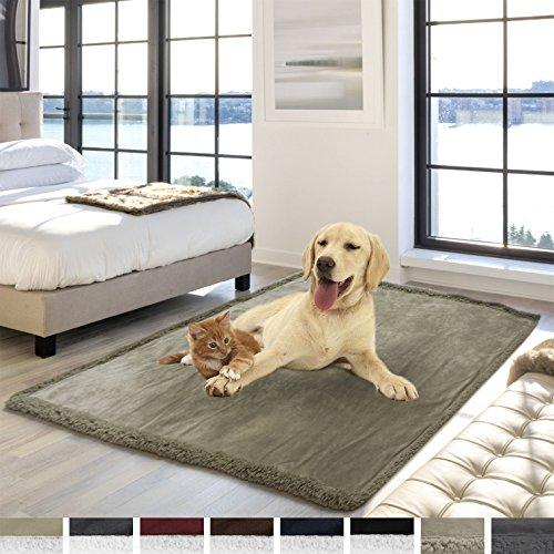 "PetAmi Premium Waterproof Soft Sherpa Pet Blanket by Cozy, Comfortable, Plush, Lightweight Microfiber, 100% WATERPROOF (50"" x 40"", Taupe/Taupe Sherpa)"