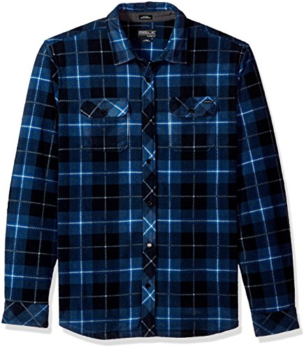 Long Sleeve Polar Fleece Top (O'Neill Men's Glacier Plaid Long Sleeve Woven Fleece Shirt, Ocean, L)