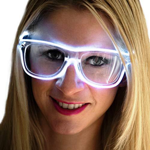 Neon Nightlife White Frame/Clear Lens Light Up Glasses