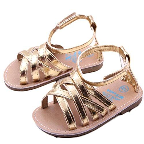 - Voberry Baby Infant Girls Summer Outdoor Prewalker Bronze Anti-Slip Sandals (6~12 Month, Gold)