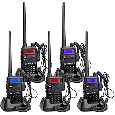 Retevis RT5R Walkie Talkie Long Distance Radio Dual Band Encrypt VOX Squelch 128 Channels Emergency Walkie-Talkie DTMF Scan MONI TOT CTCSS DCS Rechargeable Way Radio Black 5pcs