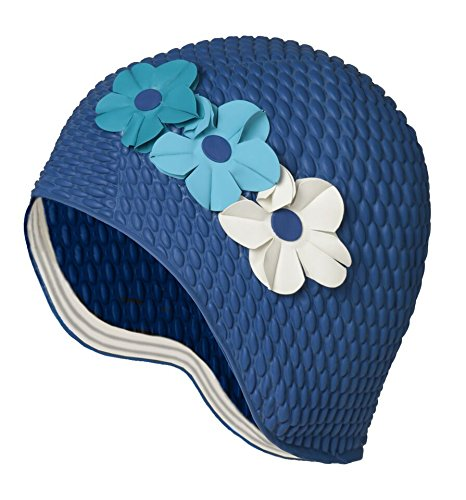 Latex Swim Cap - Women Stylish Swimming Cap Great for Ladies, Perfect to Keep Hair Dry - Suitable for Long Hair - Bubble Crepe with Navy and Blue Colored ()
