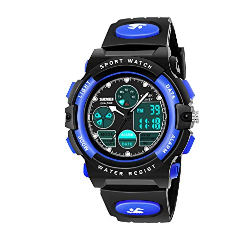 My-My Outdoor Toys for 5-12 Year Old Boys, LED 50M Waterproof Digital Sport Watches for Kids Birthday Presents Gifts for 5-12 Year Old Boys Toys Age 5-12 ZHBlue MMUSPW01 ()