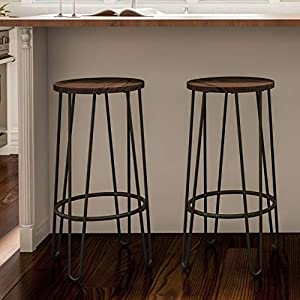 Wood Bar Stools with Hairpin Legs (Set of 2) - N/a Black Farmhouse Iron Stained Walnut Finish Stackable