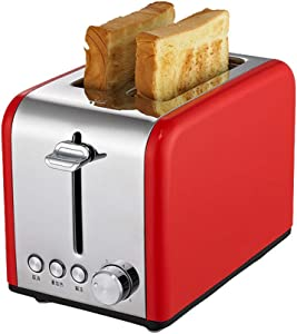 Stainless Steel Bread Maker, 220V 700-850W Automatic Toaster Automatic Breakfast Baking Machinespit Driver Hot Bread Machine Red