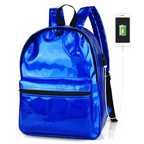 Holographic Laser Face PU Leather School Backpack, Royal Blue