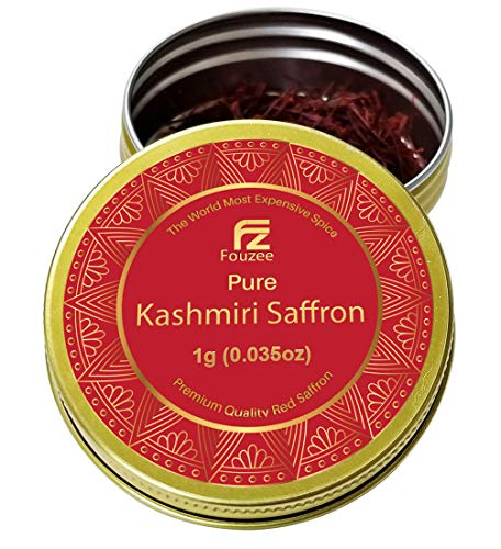Fouzee Pure Kashmiri Saffron Threads 0.035oz 1g - Finest 100% All-Red Saffron Spice For Cooking, Paella Rice, Golden Milk, Persian Rice, Tea