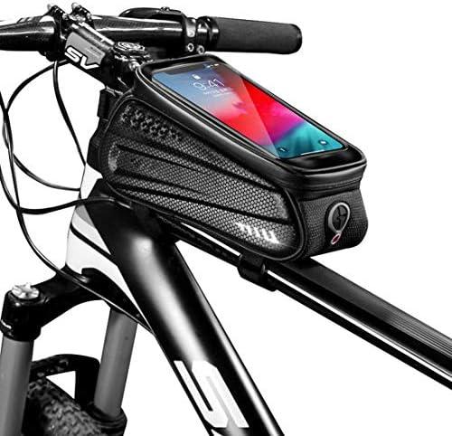 """自転車バッグ防水6.2"""" タッチスクリーンの携帯電話バッグサイクリングフロントトップチューブフレームバッグ携帯電話バッグ自転車アクセサリー,黒,1L"""