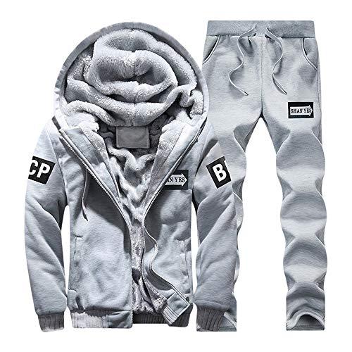 Toponly Men's Athletic Tracksuit Set Warm Running Jogging Sportwear Sweat Suit (Top Coat Pants)