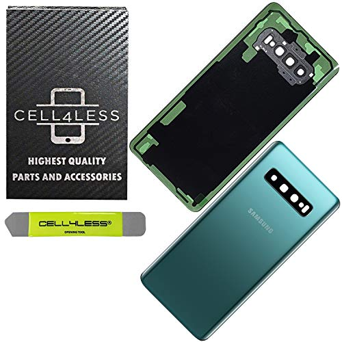 CELL4LESS Back Glass Replacement for The Galaxy S10+ Plus Model SM-G975 Including Camera Frame, Lens, Removal Tool (Prism Green)