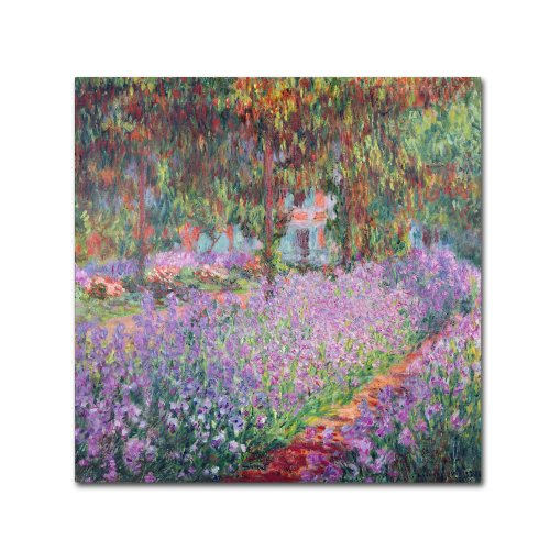 Trademark Fine Art Theist's Garden at Giverny by Claude Monet Canvas Wall Artwork, 24 by 24-Inch (Claude Monet Garden Giverny)