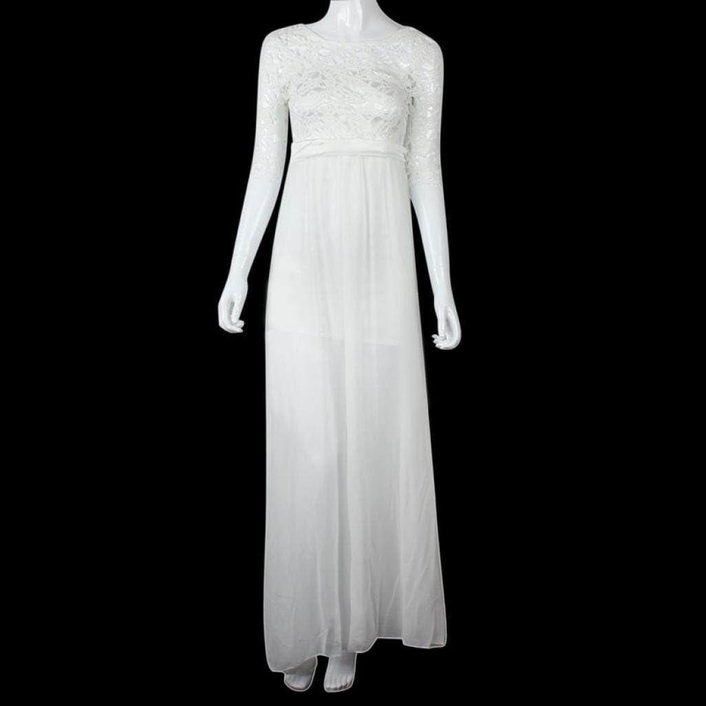 Lang weißes spitze chiffon mit abendkleid Weißes Abendkleid
