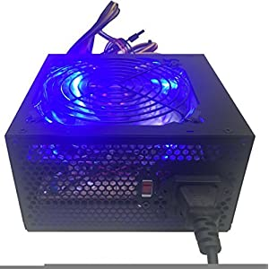 SHARK TECHNOLOGY® Shark Technology 750 Watt Quiet 120mm Blue LED Fan Black ATX 12V 2.0 PSU with all Braided Sleeving Cables and PCIe Power Connector Gaming PC System Power Supply