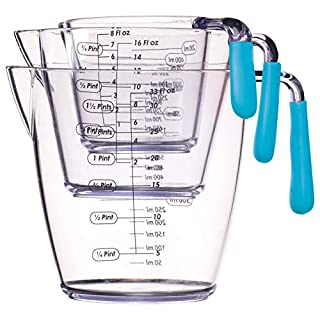 KitchenCraft Colourworks 3 Piece Measuring Jug Set - Blue