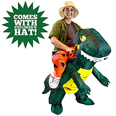 Spooktacular Creations Inflatable Dinosaur Riding a T-REX Deluxe Costume Adult Size