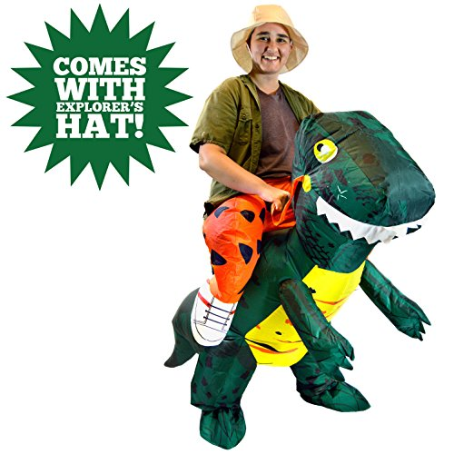 Ups Man Costume (Spooktacular Creations Inflatable Dinosaur Riding a T-REX Deluxe Costume Adult Size)
