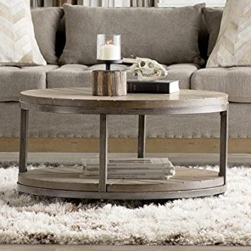 Drossett Wood Iron Design Round Coffee Table with Casters in Light Mahogany