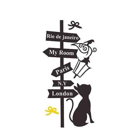 iTemer 1 pieza Pegatinas pared decorativas Stickers Vinilos decorativos pared dormitorio Decoracion pared Gatos Poste indicador Pajarita 57cm * 29cm