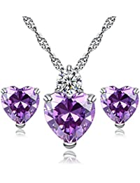 Heart Necklace and Earrings Sets Silver Plated Swarovski Elements Crystal Jewelry Sets for Women