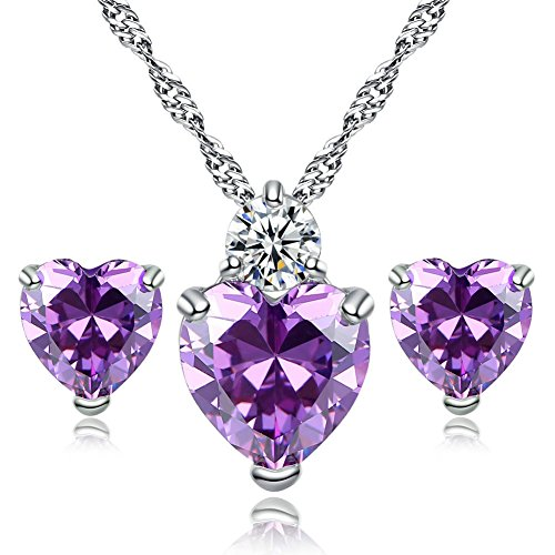 - Heart Jewellery Set Silver Plated Purplr Swarovski Elements Crystal Amethyst Necklace and Earrings Sets for Women
