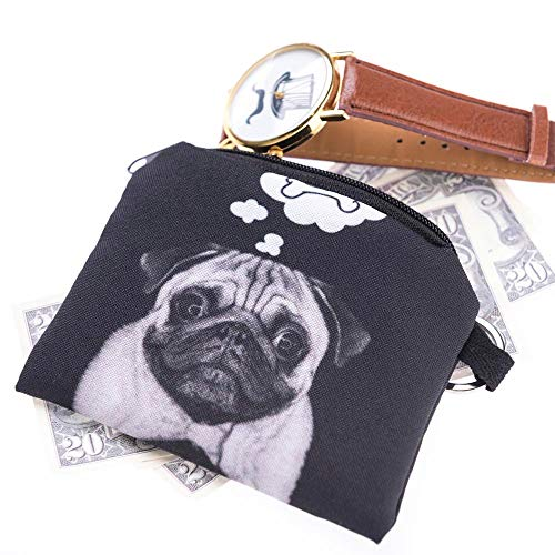 JJLIKER Cute Cartoon Cat Dog Animal Print Mini Wallet Zipper Purse Small Bag Coin Key Bags Fashion Black by JJLIKER--Women bags (Image #1)