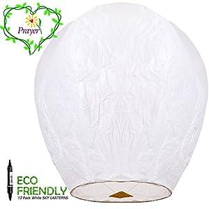FUN Entertainments 12-Pack White ECO Sky Lanterns Chinese Lanterns 100% Biodegradable+Marker pen, Environmentally Friendly!