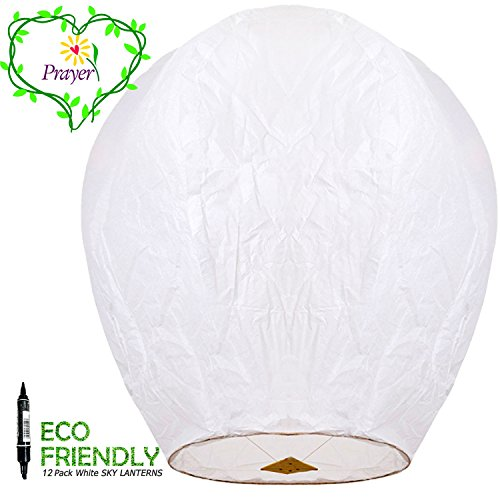 510yA3vrjtL - FUN Entertainments 12-Pack White ECO Sky Lanterns Chinese Lanterns 100% Biodegradable+Marker pen, Environmentally Friendly!
