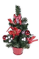 Mini Artificial Christmas Tree with Poinsettia, Ribbon,...