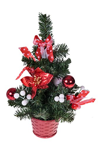 Mini Artificial Christmas Tree with Poinsettia, Ribbon, & Ball Ornaments by Clever Creations | Red and White Christmas Decor | Decoration for Home and Office | 12