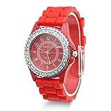 Estone Geneva Fashion Crystal Jelly Gel Silicon Girl Women's Quartz Wrist Watch (Red)
