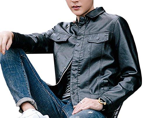 Generic Men's Lapel Faux Leather Zipper Jacket Coat Black