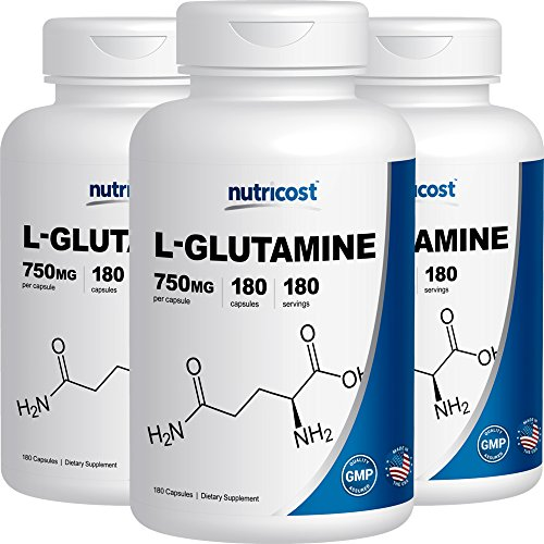 Nutricost L-Glutamine 750mg; 180 Capsules (3 Bottles)