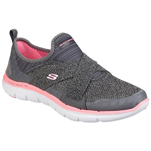 Skechers Womens/Ladies Flex Appeal 2.0 New Image Slip On Trainers/Sneakers (9 US) (Charcoal/Coral)