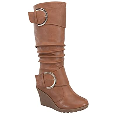FOREVER JESSY-69 Women's Fashion Wrinkle Shaft Wedge Heel Slouchy Knee High Tan Boots