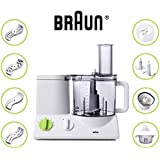 BRAUN FP3020 12-Cup Food Processor Ultra Quiet Powerful European made With German Engineering includes 9 Attachment plus Bonus Mini Processing Bowl