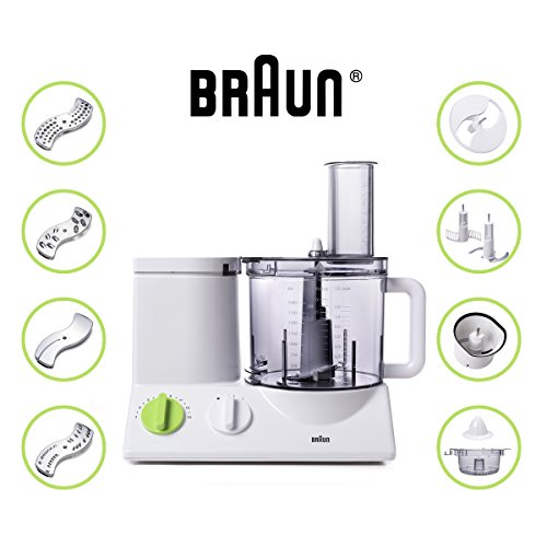 Braun FP3020 12 Cup Food Processor Ultra Quiet Powerful motor, includes 7 Attachment Blades + Chopper and Citrus Juicer , Made in Europe with German Engineering For Sale