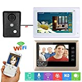 MOUNTAINONE 7 inch 2 Monitors Wired /Wireless Wifi Video Door Phone Doorbell Intercom System with IR-CUT HD 1000TVL Wired Camera Night Vision,Support Remote APP monitor,Intercom