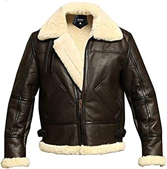 Winter Special Mens B3 Aviator WWII Flying B3 Faux Shearling Sheepskin Leather Bomber Jacket